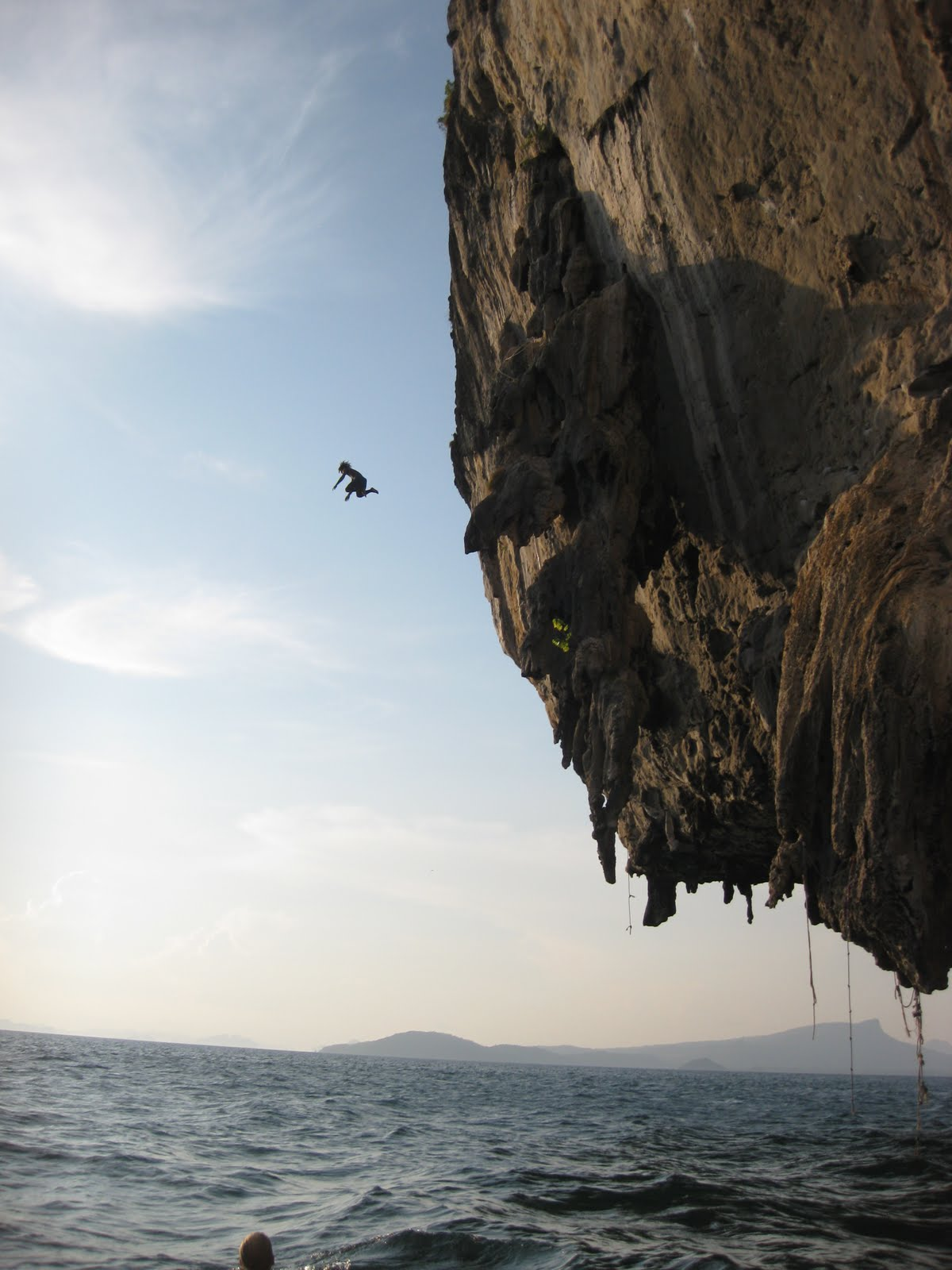 crazy Thai guide jumping into water